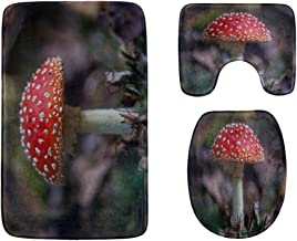 Group of Mushrooms in The Forest Bathroom Rug Mats Set 3-Piece,Soft Shower Bath Rugs,Contour Mat and Toilet Seat Lid Cover...