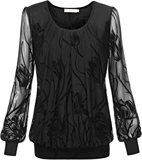 BaiShengGT Women's Pleated Front Mesh Tunic Top Blouse
