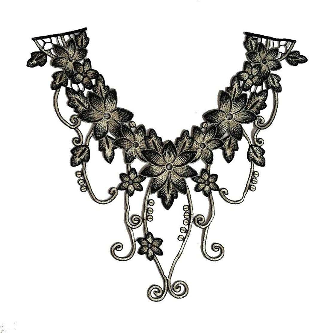1 Pcs Black Floral Lace Collar Fabric Trim DIY Embroidery Lace Fabric Neckline Applique Sewing Craft (Color 7)