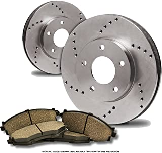 (Front Kit)(Heavy Tough-Series) 2 Cross-Drilled Disc Brake Rotors + 4 Ceramic Pads(Fits:- Transit Connect)(5lug)