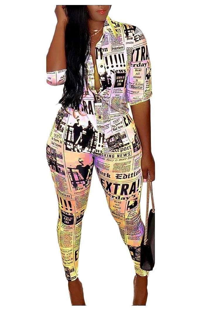 雨のスローガン仲間VITryst Women 2 Piece Roll-Up Sleeve Shirt High Waist Pants Jumpers Outfits
