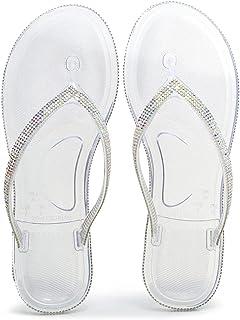 LLGG Casual Anti-Slip Floor Sandals,Flash drill, drill, sloppy, sandwich flat-Transparent_UK7,massage slippers men