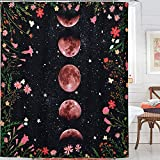 Yokii Duschvorhang, Boho-Stil, Blumenmuster, Mond beleuchtet, Garten, Ranken, Mond, Phrase, Sternenhimmel, Badezimmer-Duschvorhang-Set, Vintage-Stil, Hippie-Badezimmerdekoration (72 x 72, schwarz)