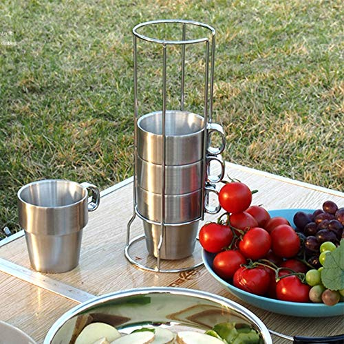 Amazing Deal It is a Perfect Choice for You Outdoor Portable Picnic Cups Four Piece Suit Stainless S...