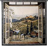 Balcony View of The Villa by Barbara Felisky | Woven Tapestry Wall Art Hanging | Peaceful Countryside Lanscape | 100% Cotton USA Size 53x53