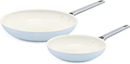 "GreenPan Padova 8"" and 10"" Ceramic Non-Stick Open Frypan Set, Light Blue - CC000385-001"