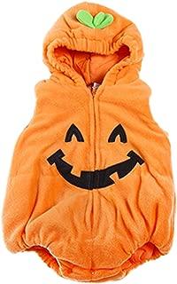 Infant Toddler Halloween Baby Kids Fleece Pumpkin Costume Comfy Jumpsuit