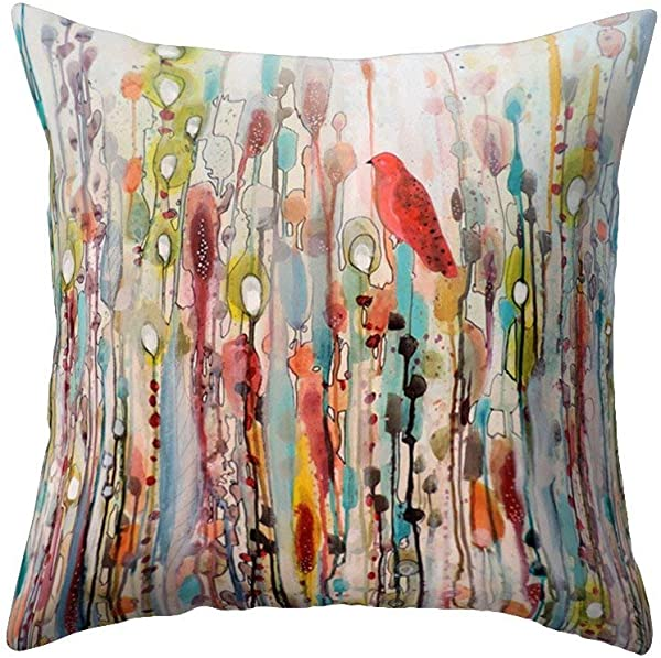 Wintefei Win Bird Flower Pillow Case Bed Sofa Living Room Decor Throw Cushion Cover 1