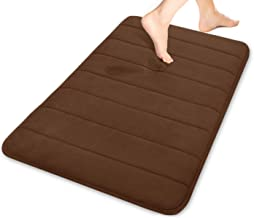 (1, Chocolate) - Yimobra Memory Foam Bath Rugs Luxurious Large 80cm X 50cm Soft Maximum Absorbency Bathroom Rugs Non Slip ...