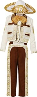Black Brown Ivory Boys Charro Mariachi Suit 6 Pc Set Wedding Ring Bearer Party Hat