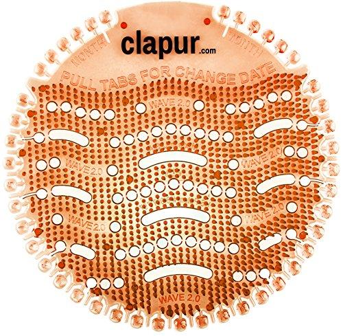 clapur Urinal-Sieb (2 Stk.) Mango-Duft - Spritz-Schutz passend für jedes Pissoir und Urinal, gegen Verstopfung von Urinalen, Made in USA, rund, orange