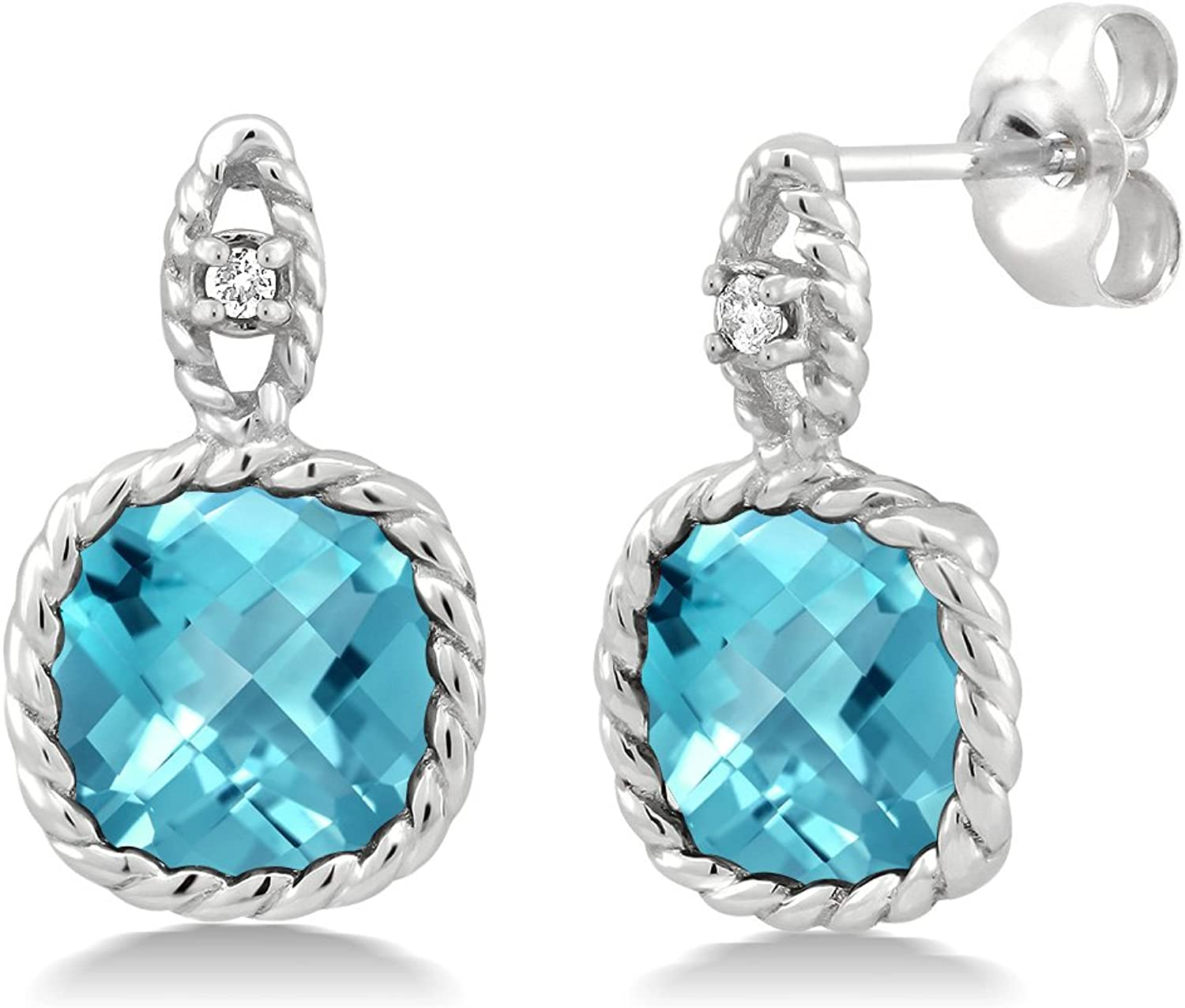 10K White gold 5.50 Ct 8mm Cushion Swiss bluee Topaz and Diamond Cable Earrings