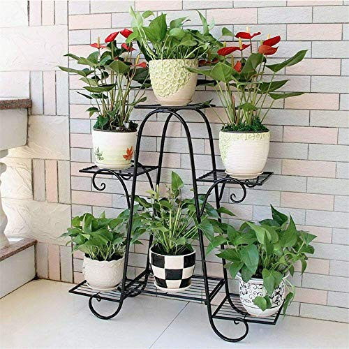 lehom 6 Tier Plant Stands Indoor, Metal Plant Shelf Stand Outdoor, Multi-Layer Potted Planters Display Rack, Iron Flower Stand Holder for Patio Garden