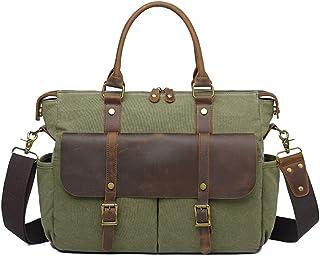 Messenger Bag for Men, Canvas Shoulder Bag Satchel, 14 inch Laptop Business Briefcase Crossbody with Detachable Strap Large Briefcase,Green
