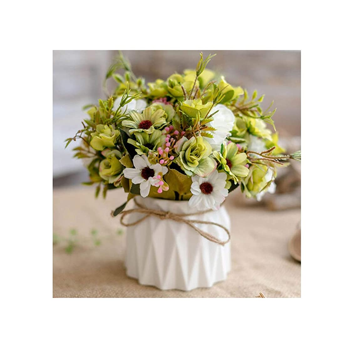 障害者優雅な色SHENGSHIHUIZHONG リビングルーム偽の花人工的な花の装飾プラスチック製の花セラミック花瓶セットテレビキャビネットダイニングテーブル、欧州フラワーアレンジメントブーケの装飾 (Color : Green)
