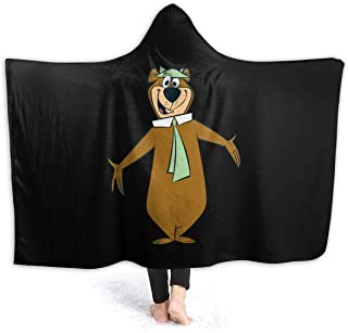 Williamacuna Yogi Bear Hooded Blanket Soft Throw Wrap Wearable Blankets Novelty Cape for Kids Adults