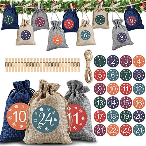 YQHbe Calendrier de l'Avent, 24 Sac Calendrier de l'avent DIY Calendrier de l'avent Tissu remplir soi Meme avec Etiquettes Numéro et 24 Pinces Bois pour Noël Décoration