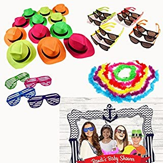 Dazzling Toys Party Photo Booth Props Kit - Sets of 24 Hats, Sunglasses & Feather Boas for Themed Birthday Parties & Events - 96 Pieces