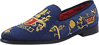 ELANROMAN Men Loafers Velvet Dress Shoes Embroidery Vintage Party Shoes Navy US 15 EUR 49 Feet Lenght 320mm