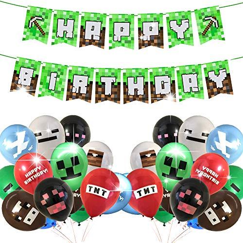 BETOY Mehrfarbige Luftballons 24 Stück Party Luftballons Geburtstag Einschließlich Banner Geburtstagsfeier Party Zubehör Kindergeschenk für Geburtstags Partydekoration