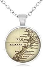 Family Decor New Zealand Map Pendant Necklace Cabochon Glass Vintage Bronze Chain Necklace Jewelry Handmade