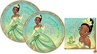 Disney Princess Tiana Party Supplies Pack with Plates and Napkins for 16 Guests by Amscan