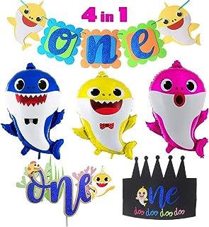 Baby Shark Theme 1st Birthday Party Supplies Set,1 Pack Shark Banner,1 Shark Cake Topper,1 Doo Doo Shark Birthday Hat,3 Shark Family Balloons One First 1th Year Boy Girl Kid Baby Shower Birthday Party Decor
