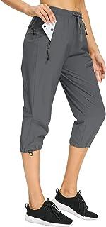 Women's Cargo Hiking Joggers Pants Lightweight Water Resistant Elastic Waist UPF 50+ Athletic Sweatpants Zipper Pockets