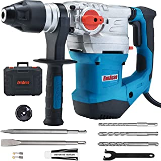 ENEACRO 1-1/4 Inch SDS-Plus 12 Amp Heavy Duty Rotary Hammer Drill, Safety Clutch 4 Functions with Vibration Control Including Grease, Chisels and Drill Bits with Case