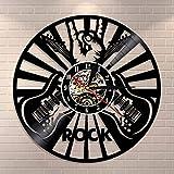 Reloj de pared con diseño de la mano de rock, para decoración de pared, para decoración de pared, discoteca de vinilo, para amantes de la música de rock, guitarras, regalo de guitarra,