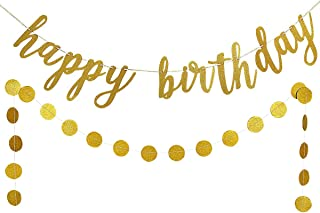 Gold Glittery Happy Birthday Banner and Gold Glittery Circle Dots Garland(25pcs Circle Dots) -Birthday Party Decoration Supplies