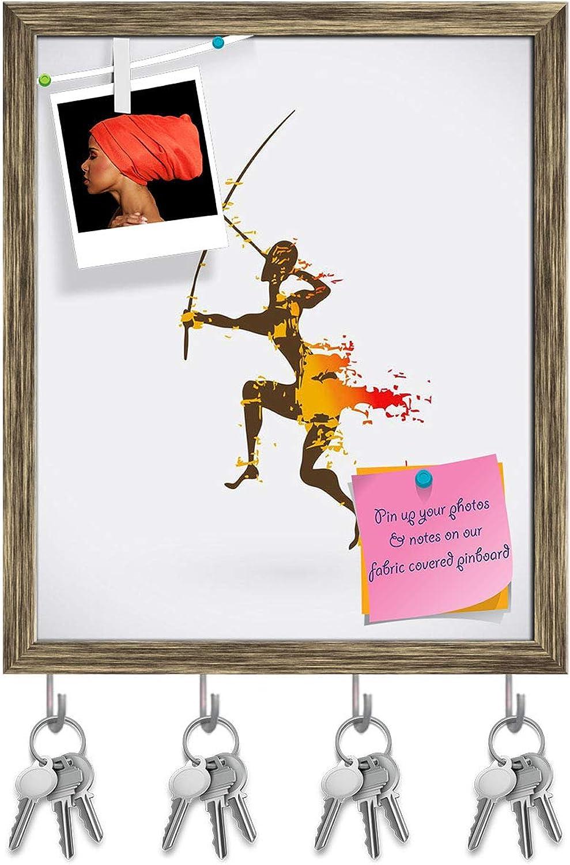 Artzfolio Traditional Ritual Dance D3 Key Holder Hooks   Notice Pin Board   Antique golden Frame 16 X 19.3Inch