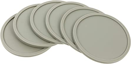 FAVOMOTO 6pcs Silicone Trivet Mats Heat Resistant Kitchen Pot Holder Multipurpose Non- Slip Hot Pads Table Placemats (Grey)