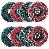 Bayda 8 discos de fibra de nylon rojo y verde de 4 pulgadas Set Surtido lijado pulido pulido ruedas para amoladora angular