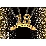 Cassisy 3x2m Vinilo Cumpleaños Telon de Fondo 18 cumpleaños telón de Fondo Lentejuelas Brillantes Rayos Oro Negro Fondos para Fotografia Party Photo Studio Props Photo Booth