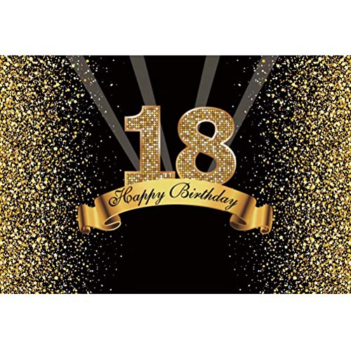 Cassisy 2,2x1,5m Vinilo Cumpleaños Telon de Fondo 18 cumpleaños telón de Fondo Lentejuelas Brillantes Rayos Oro Negro Fondos para Fotografia Party Photo Studio Props Photo Booth