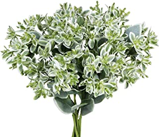 Supla Artificial Greenery Euphorbia Marginata Spray Gray Green Floral Stems Eucalyptus Leave Silk Variegated Greenery Branches for Wedding Bouquets Wreath Centerpiece Décor 3 Pack 18