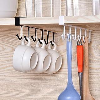 HOME CUBE Multifunctional 6 Stainless Steel Door Organiser /Hook Hanger (White and Black)-Pack of 2