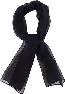 pequeño pañuelo de seda gasa negro monocromo unicolor - pañuelo tamaño 80 x 21 cm