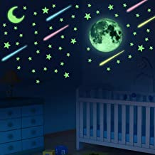 UPINS 284 PCS Glow in Dark Stars Stickers, Glowing Stars, Moon and Meteors for Ceiling and Wall Decals, Good Choice for Kids Bedding Room or Party Birthday Gift