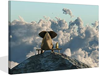 Visual Art Decor Animal Canvas Poster Elephant and Dog Friends Sit on Mountain Top Scenery Framed Gallery Wrap Print Room Wall Art Decoration(Mountain Top, 16