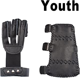 AMYIPO Archery Protector 3 Finger Protective Finger Tab Glove, 3 Straps Arm Guard