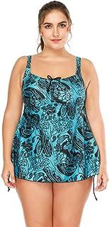 Rawdah-- Costume Intero Costume da Bagno Donne Plus Size Stampa Fiore Monokini Costumi da Bagno Sexy Le Righe delle raddoppiano Le Serie di Costumi da Bagno Tankini Un Pezzo Sportivo Atletico
