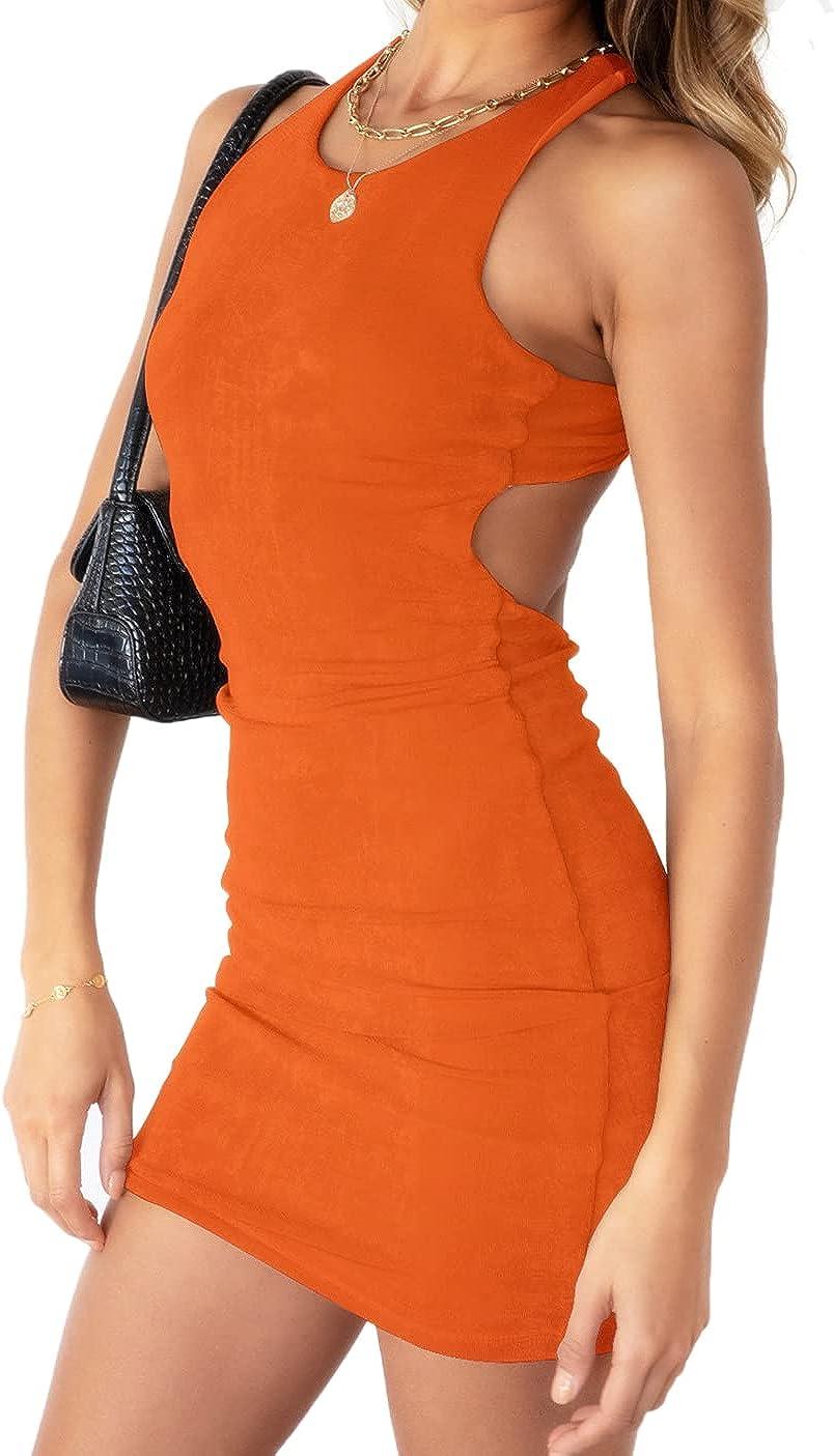 WAYMODE Women's Sleeveless Cut Out Halter Backless Bodycon Mini Tank Dress