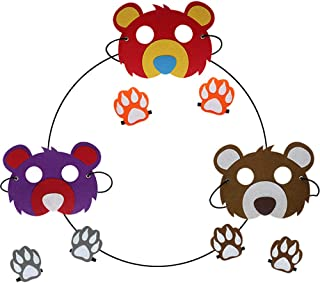 Flying Childhood Boys Girls Bear Masks with Paws Woodland Costume for Kids Safari Party Supplies (3 Pack)