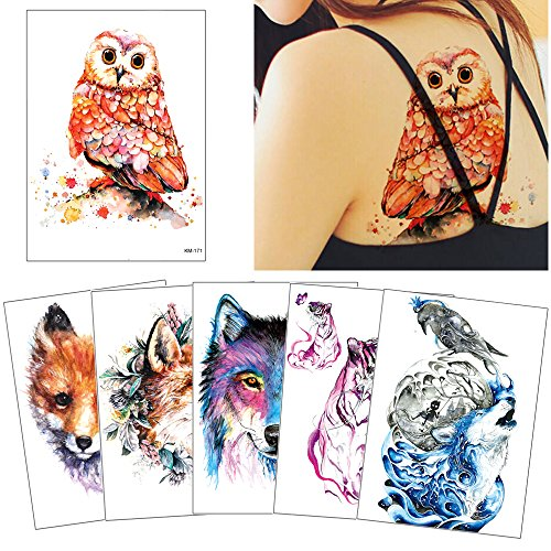 6 Sheets Watercolor Animal Temporary Tattoo Sticker Colored Drawing Body Makeup Decal