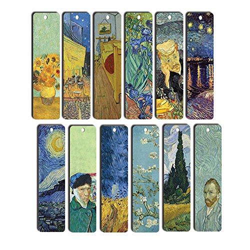 Van Gogh Bookmarks (12-Pack) - Starry Night - Sunflowers - Irises - Art Paintings Bookmarker - Cool Bookmarker for Men and Women - Best Quality Stocking Stuffers