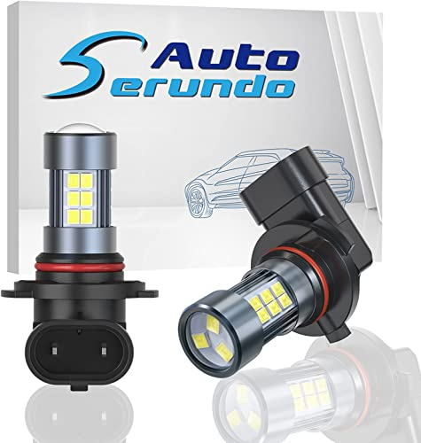 lowest Serundo Auto 9006 LED Fog Light Bulbs, HB4 LED Fog Light Bulbs, Extremely discount Bright Daytime Running Lights DRL Bulbs Replacement for 12V 24V Cars, Trucks (Pack of 2) , 6500K Xenon outlet online sale White outlet sale