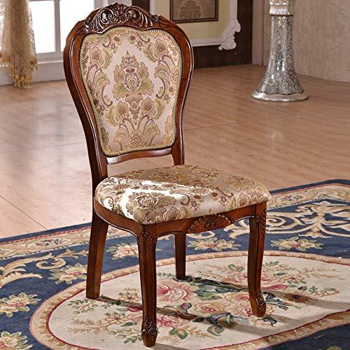 Decoración de muebles Sillas de comedor Silla de sala de estar Madera tallada estilo rústico sin apoyabrazos Adecuado para el hogar Hotel Fácil montaje 2 piezas (Color: Marrón Tamaño: 50x58x106cm)