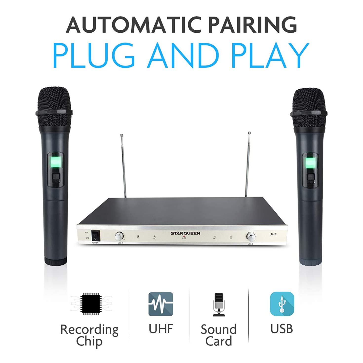 Starqueen Dual UHF Wireless Karaoke Speaker Microphones System for PA Speaker,Computer PC Home KTV,Cordless Handheld Portable Dynamic Mic Battery Powered with LCD Display